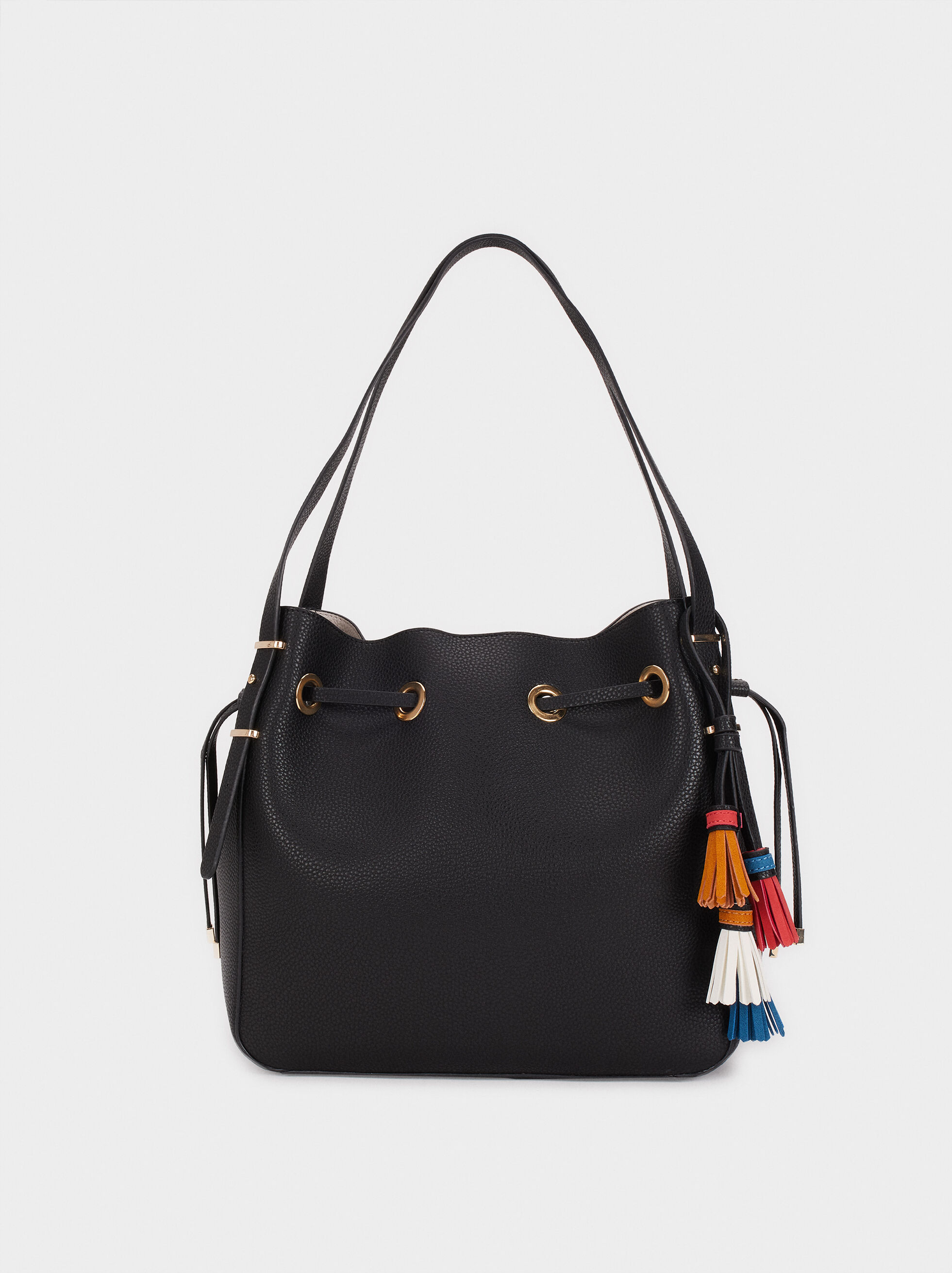 Handbag With Tassels, Black, hi-res
