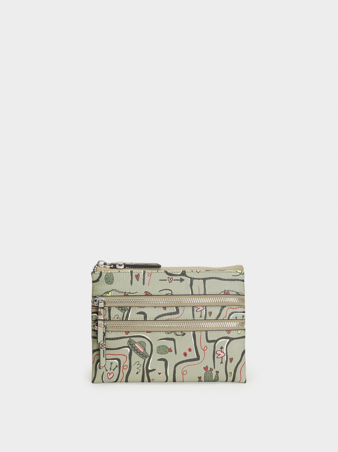 Printed Toiletry Bag, Khaki, hi-res
