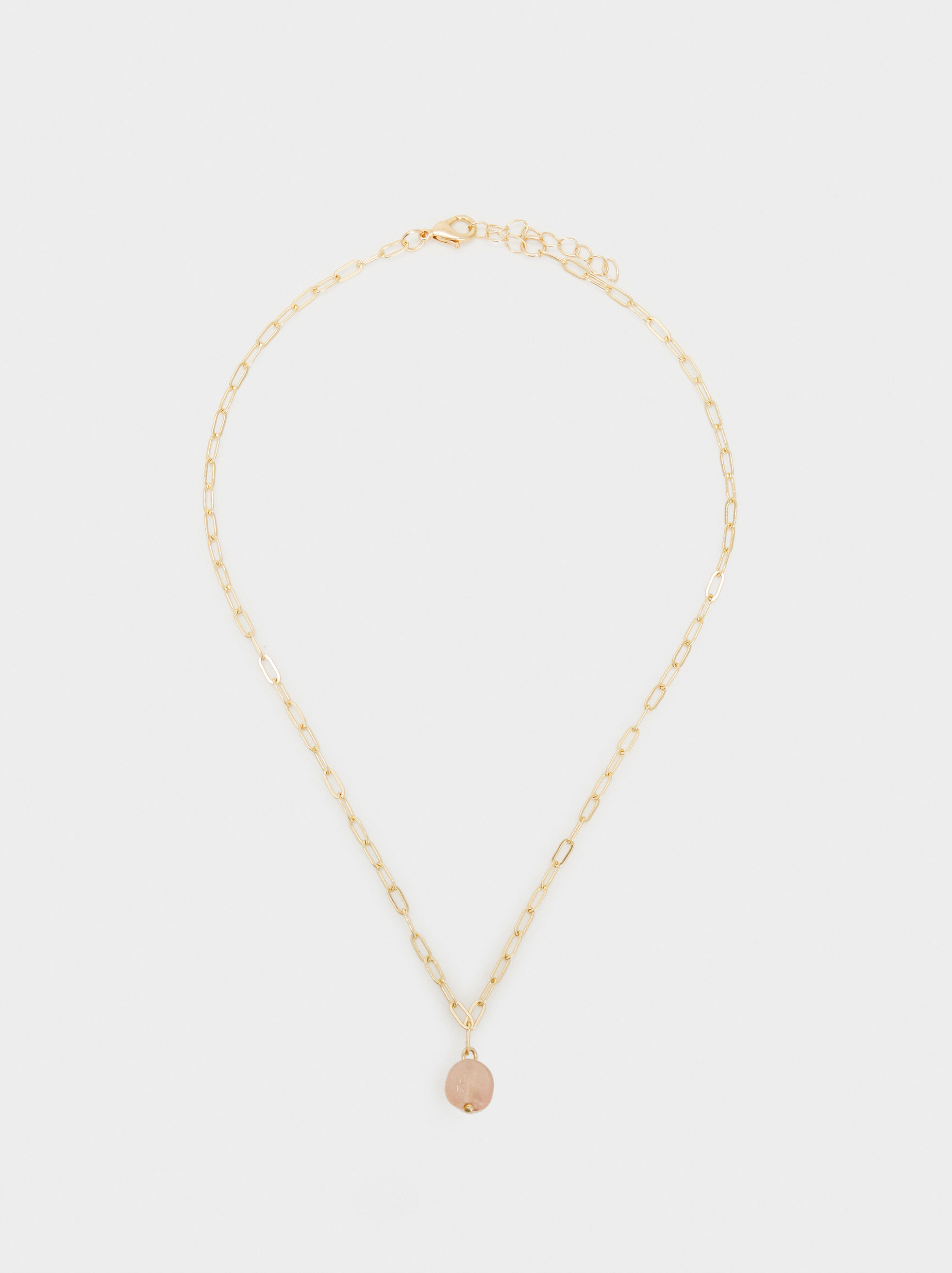 Petrified Long Beaded Necklace, Pink, hi-res