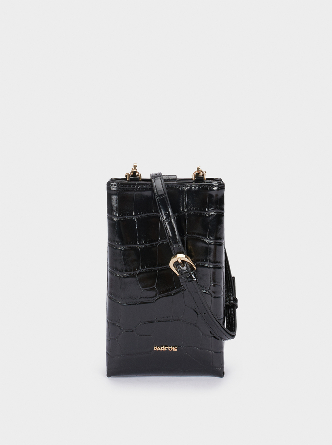Embossed Mobile Phone Bag With Shoulder Strap, Black, hi-res