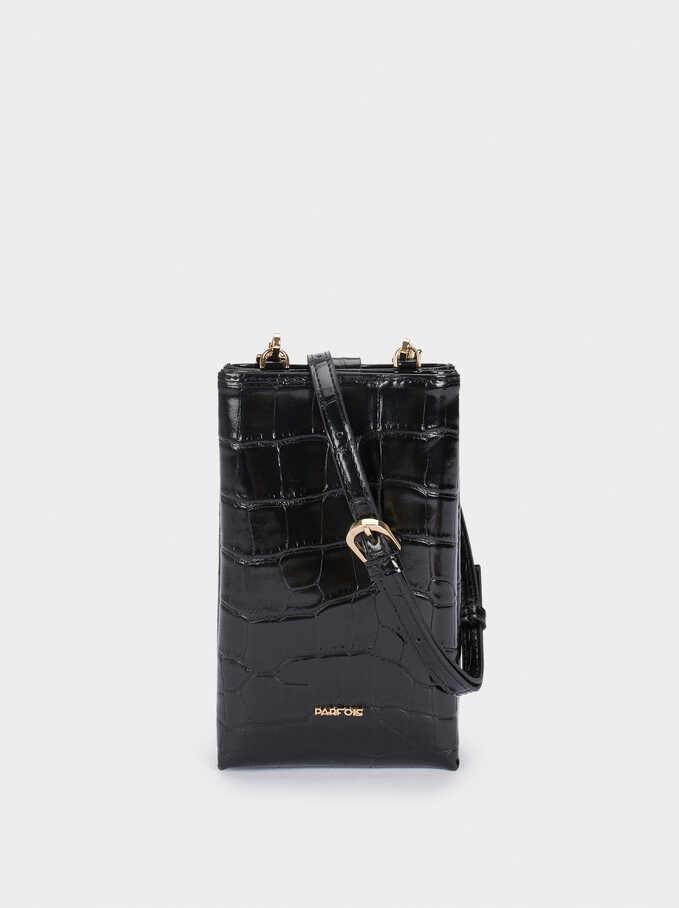 Embossed Mobile Phone Bag With Shoulder Strap, Black, hi-res