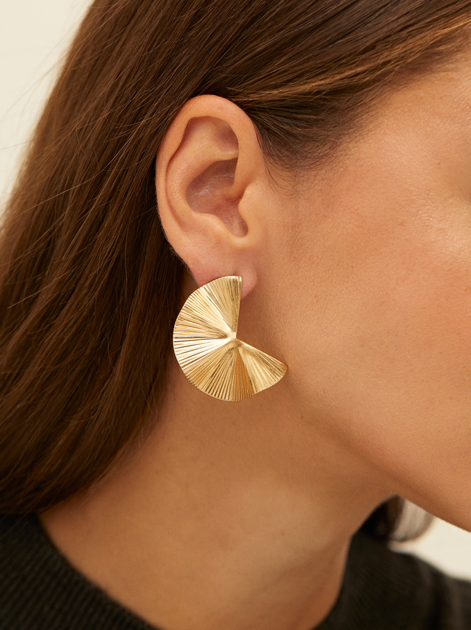 Silver Irregular Earrings, Golden, hi-res
