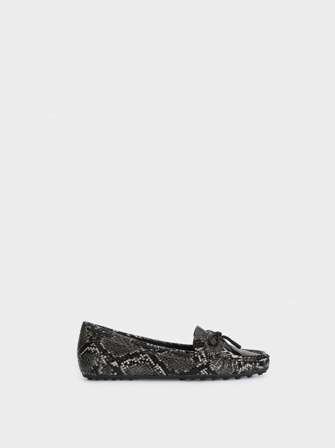 Faux Snakeskin Loafers With Bow, Black, hi-res