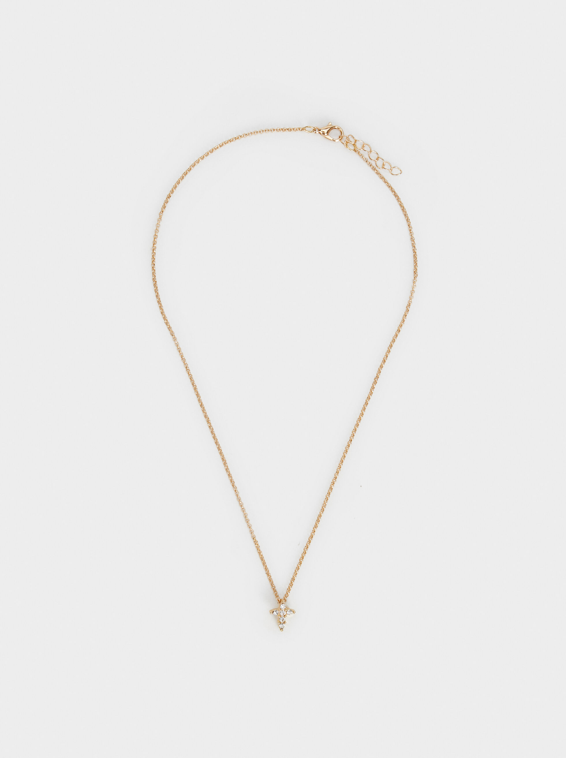 Short Necklace With Cross, , hi-res
