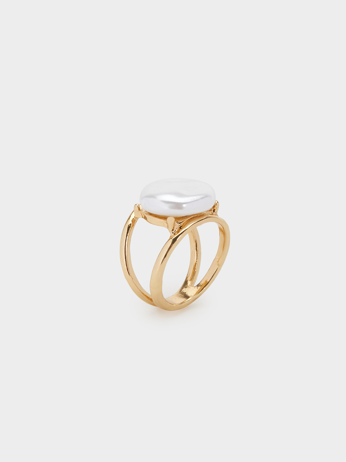 Fancy Pearls Ring, White, hi-res