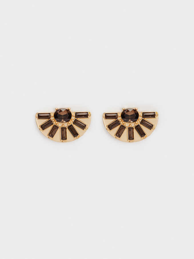 Short Geometric Earrings, Brown, hi-res