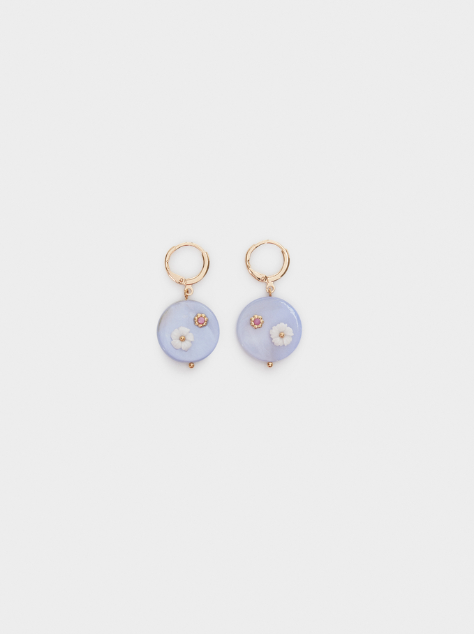 Watercolor Medium Hoop Earrings With Flowers, Multicolor, hi-res