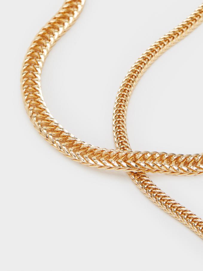 Conjunto De Collares Cadena Dorados, Dorado, hi-res