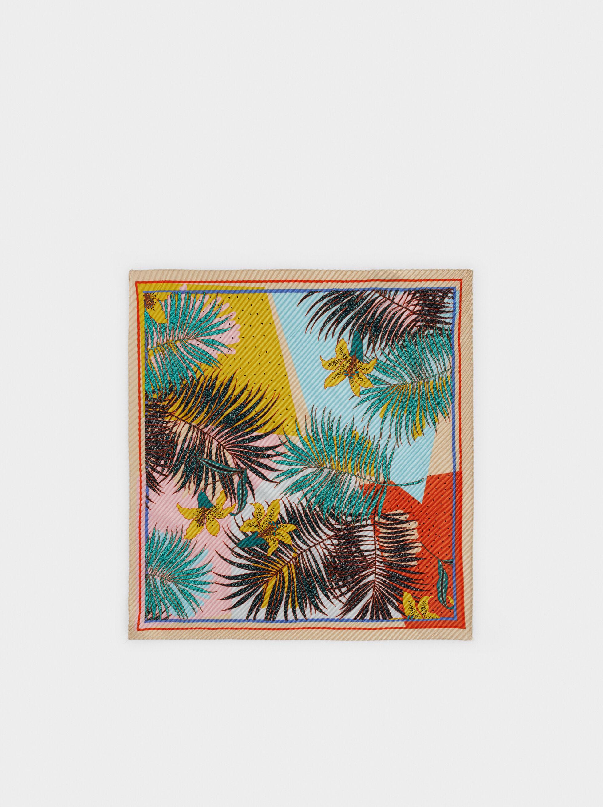 Floral Print Square Scarf, Multicolor, hi-res