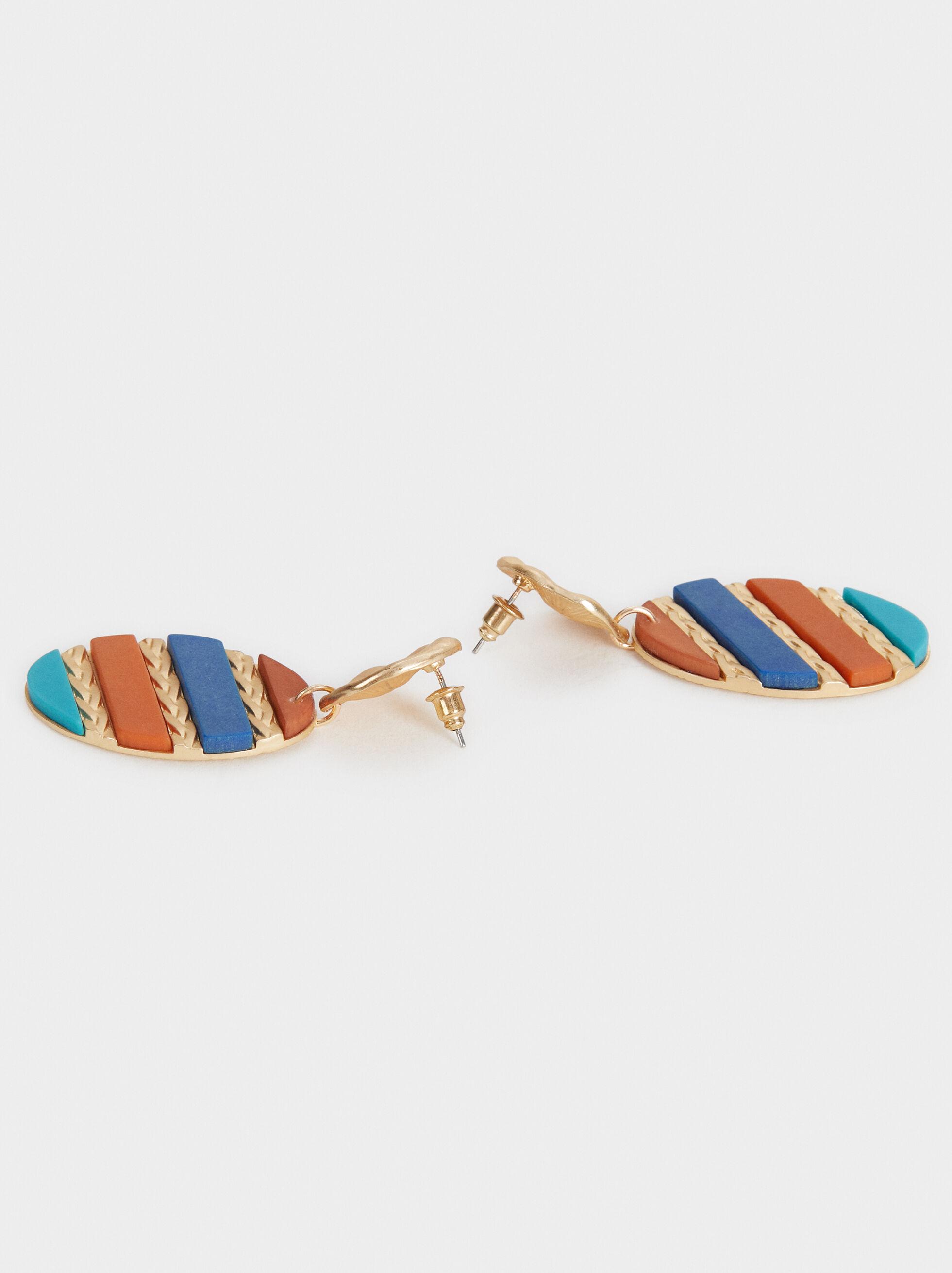 Zorba Multicoloured Long Earrings, Multicolor, hi-res