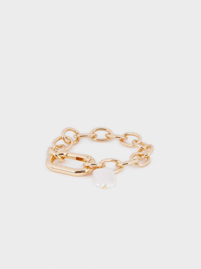 Gold Faux Pearl Bracelet, Golden, hi-res