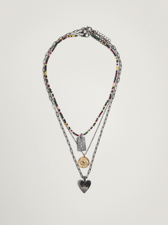 Set Of Necklaces With Charms, Multicolor, hi-res