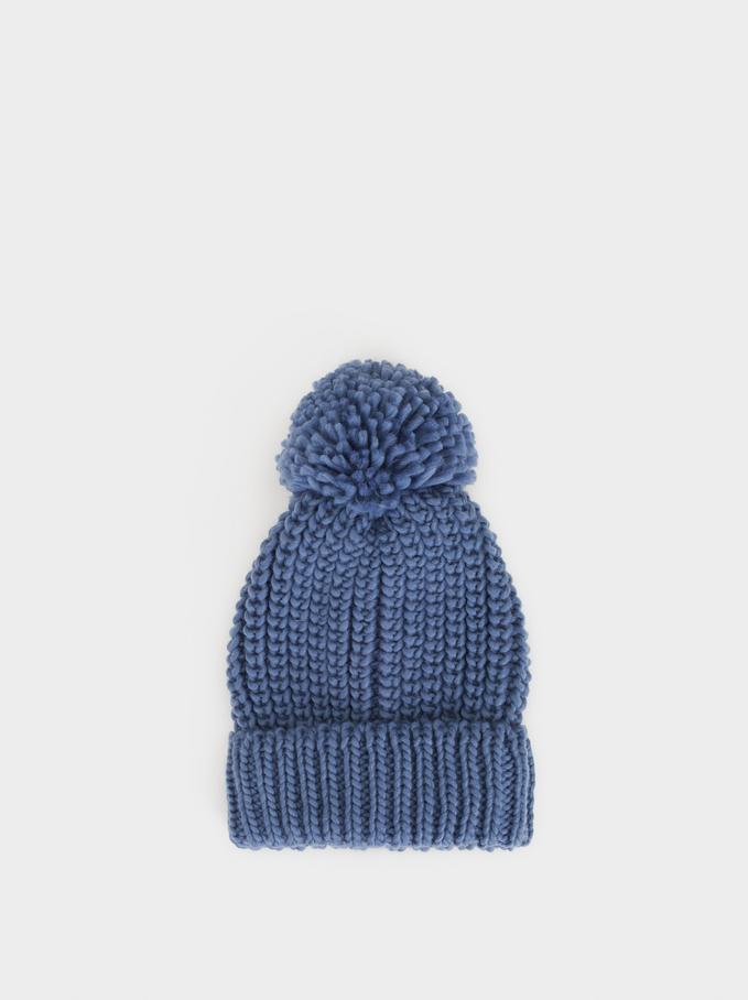 Pompom Hat, Blue, hi-res