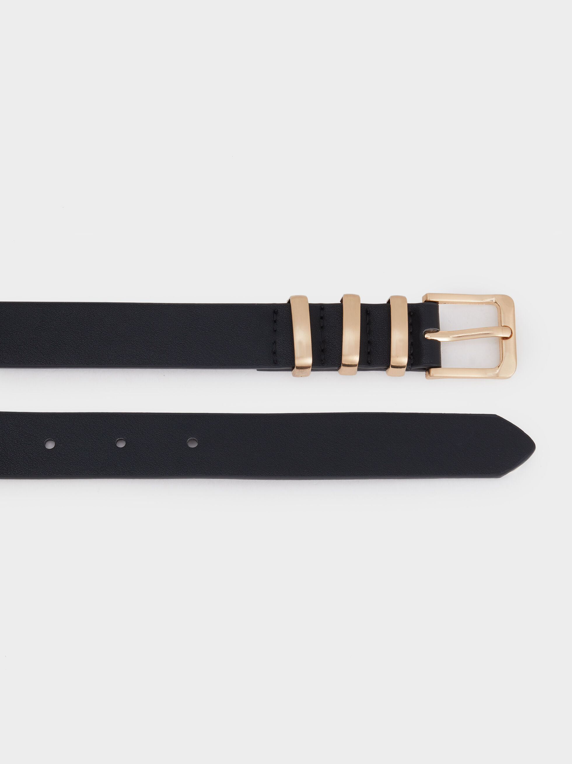Belt With Metal Detail, Black, hi-res