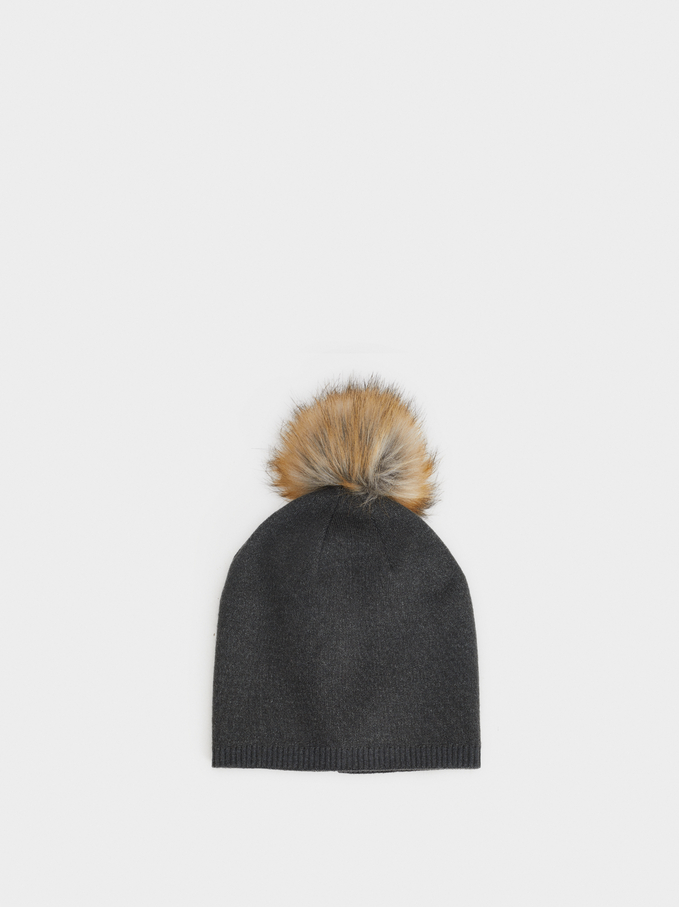 Hat With Pompom, Grey, hi-res