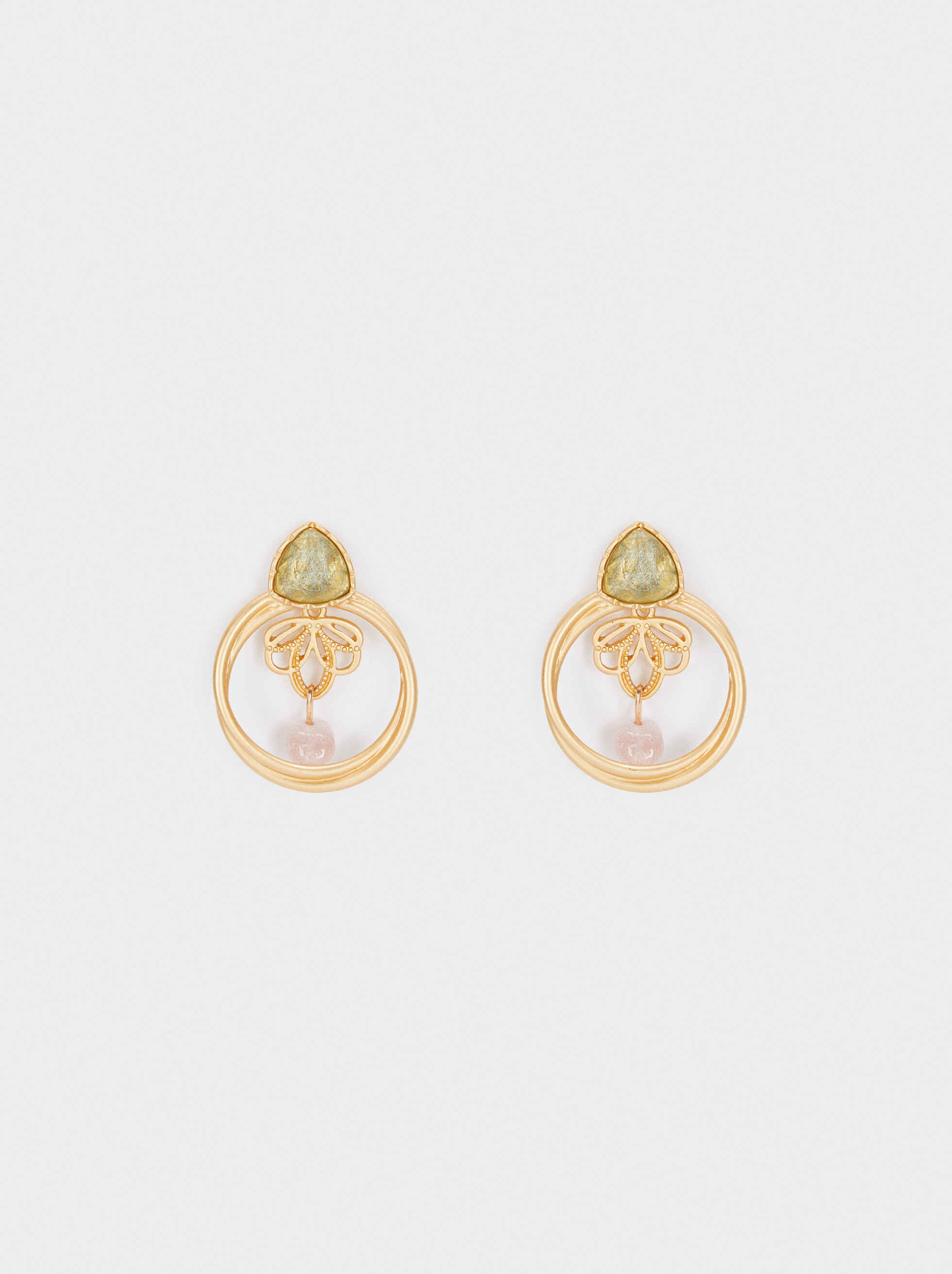 Medium Gold Earrings With Stone, Multicolor, hi-res