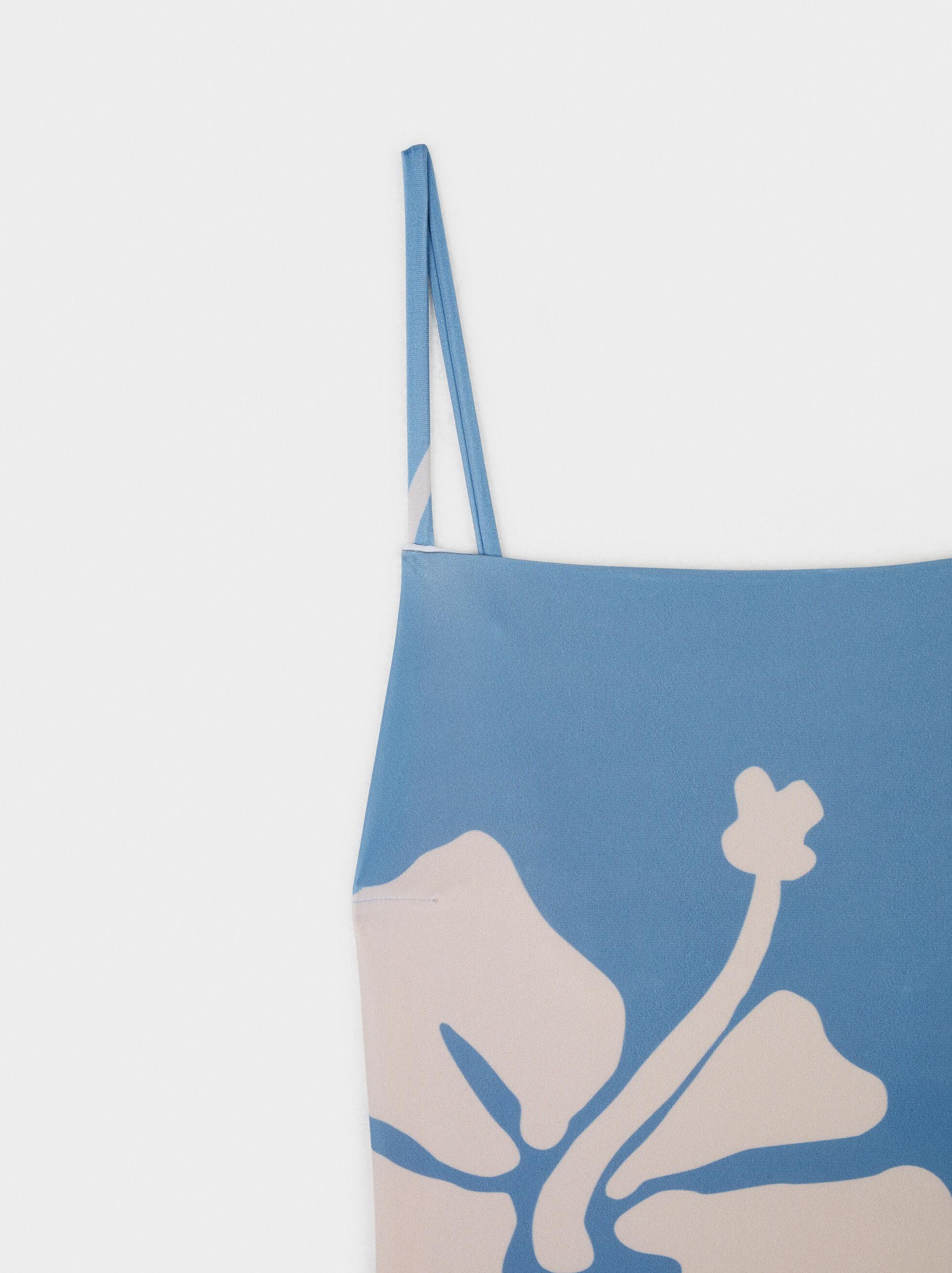 Costume Da Bagno Stampa Ibisco, Blu, hi-res