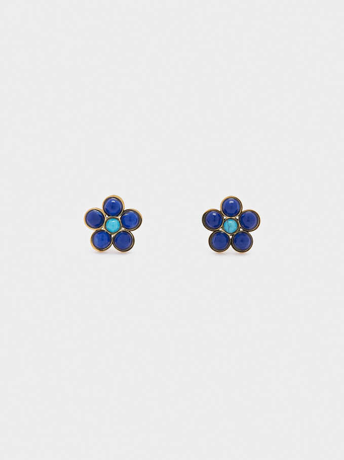 Boucles D'Oreilles Courtes En Acier Fleur, Multicolore, hi-res
