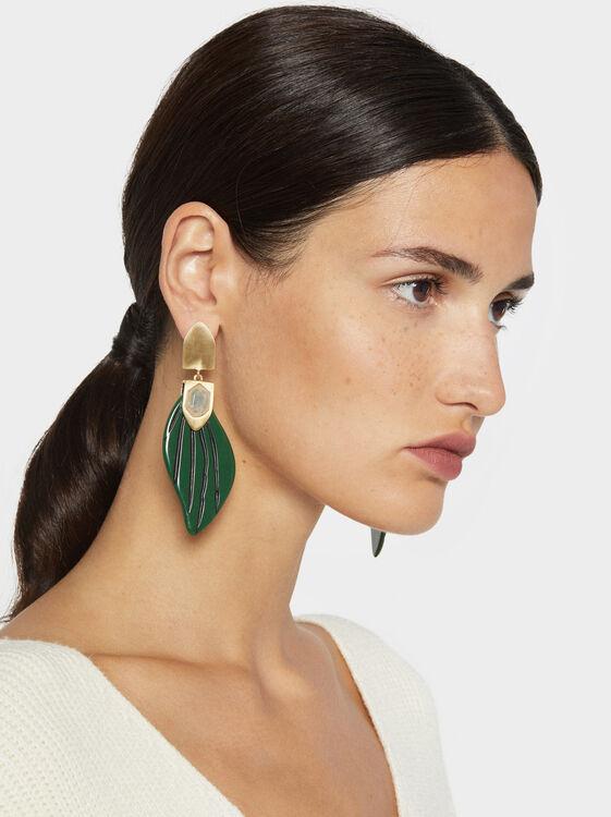 Stone Story Long Leaf Earrings, Multicolor, hi-res