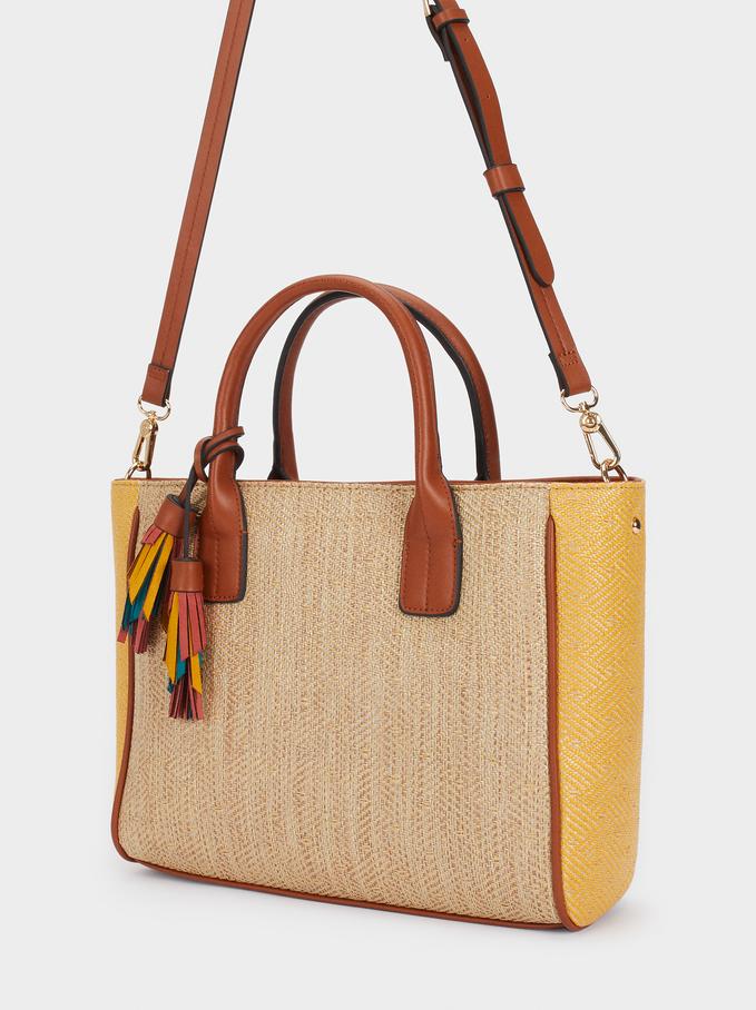 Shopper Bag In A Raffia Finish, Camel, hi-res