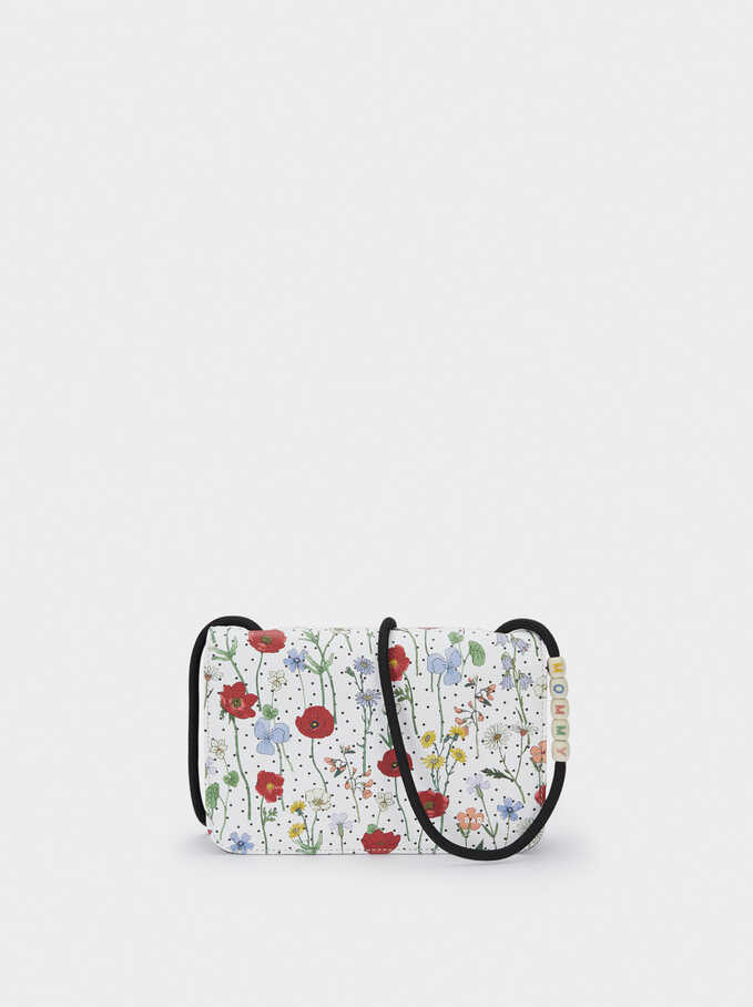 Long Floral Print Purse, Red, hi-res