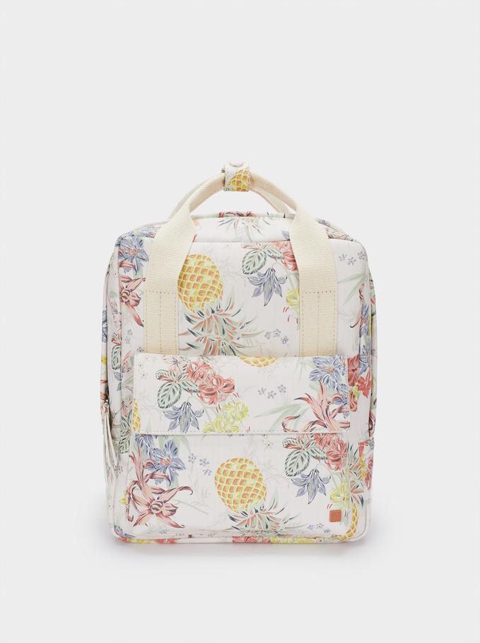 Floral Print Backpack, Coral, hi-res