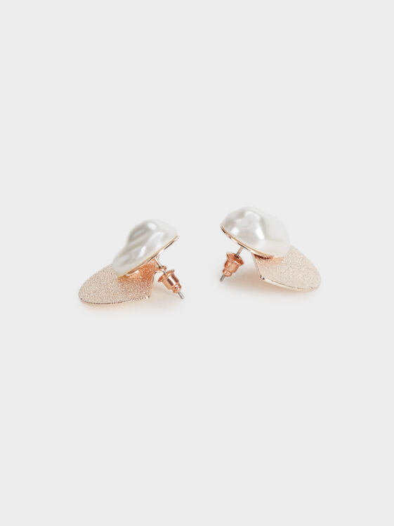 Pink Desert Faux Pearl Studs, Orange, hi-res
