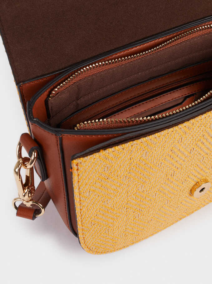 Straw Finish Crossbody Bag, Mustard, hi-res