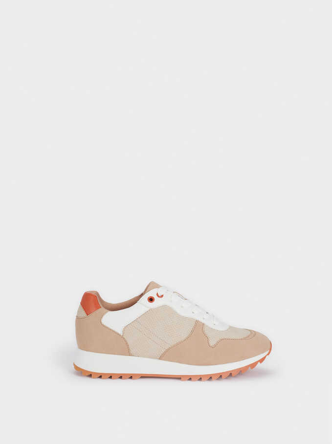 Running Taupe & Orange Sneakers, Brown, hi-res