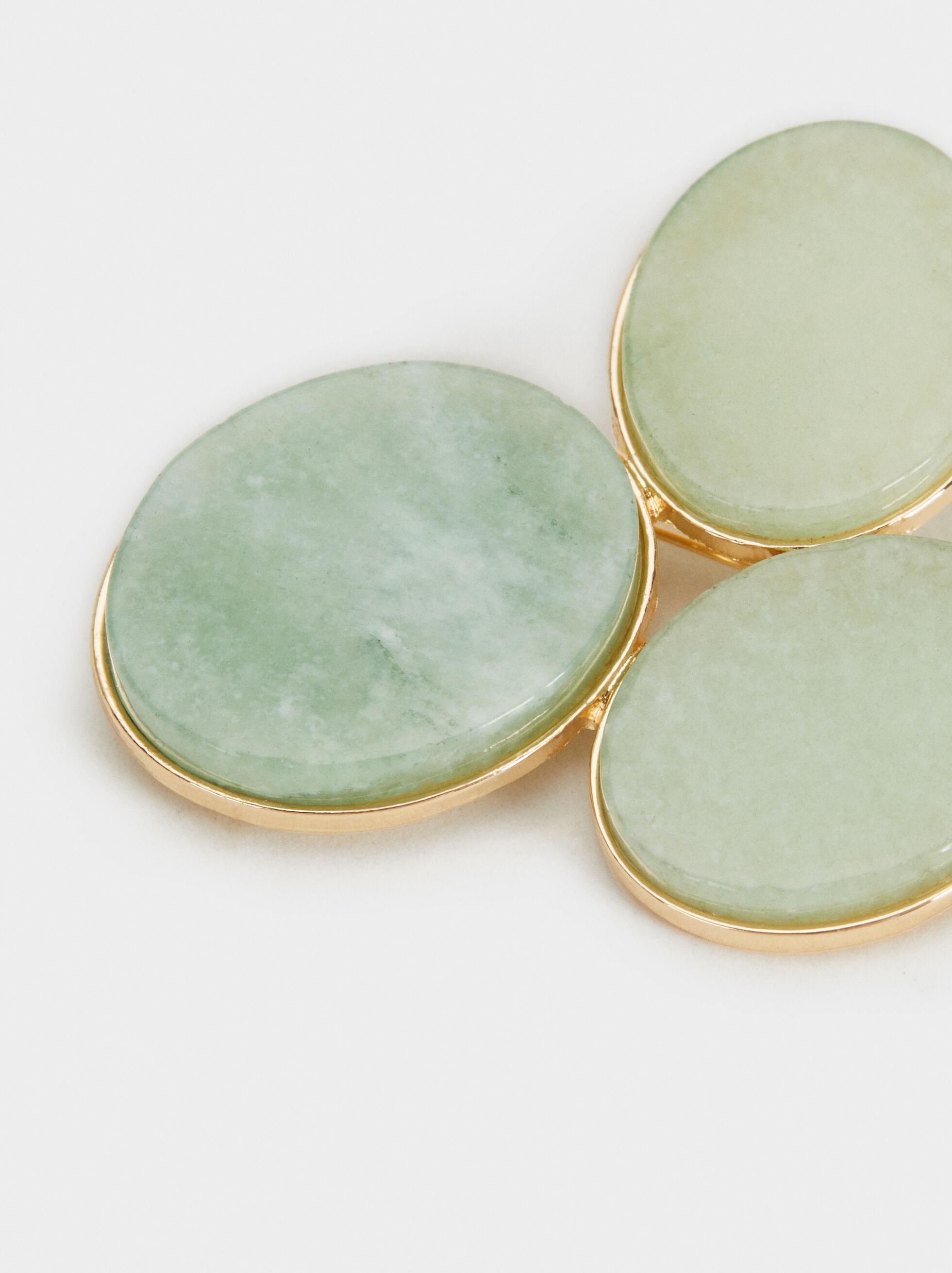 Green Beaded Brooch, Green, hi-res