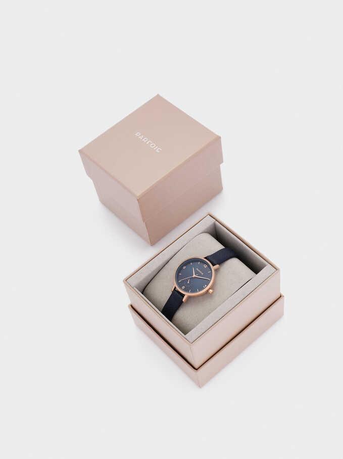 Reloj De Pulsera Textura Piel, Azul Marino, hi-res