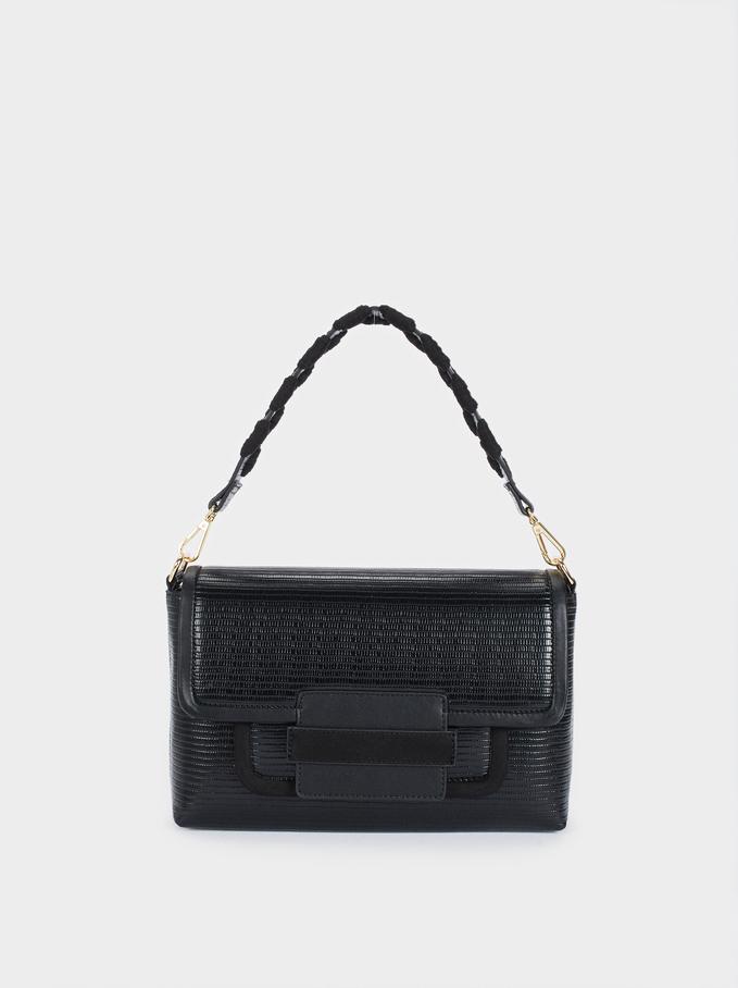 Handbag With Front Flap Fastening, Black, hi-res
