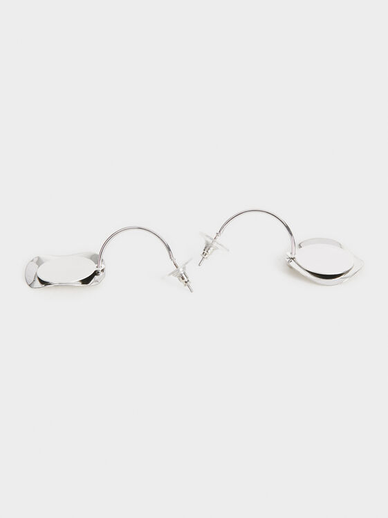 Medium Hoop Earrings With Pendants, Silver, hi-res