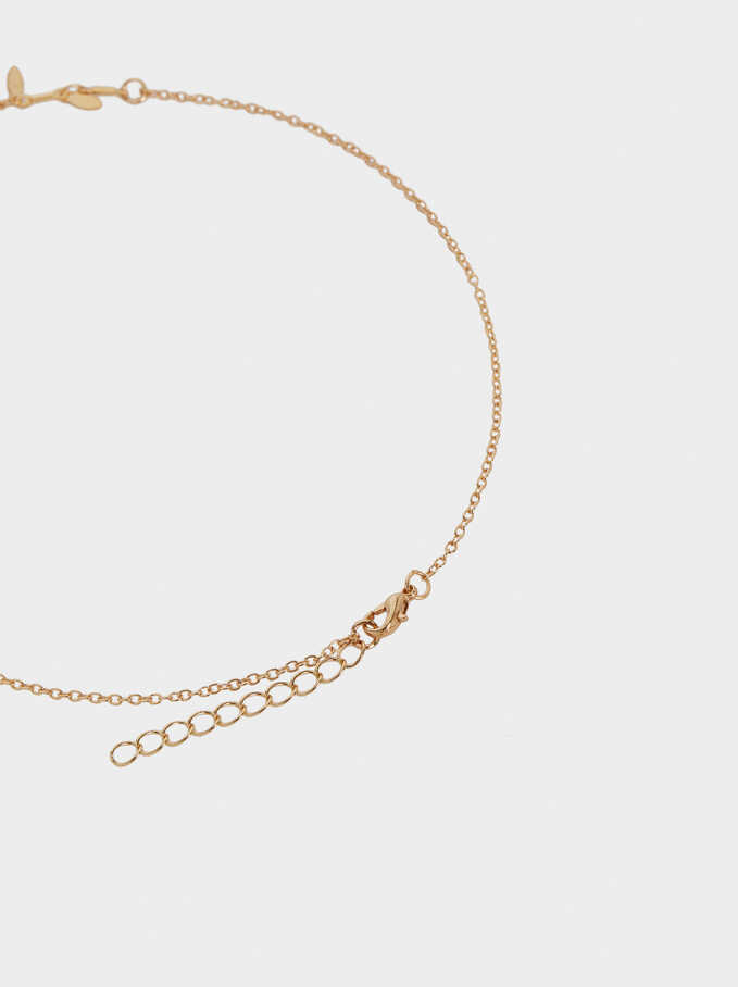 Set Of Necklaces With Snake And Crystals, Golden, hi-res