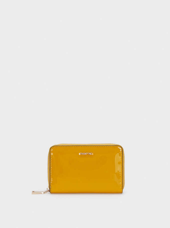 Compact Patent Finish Purse, Mustard, hi-res