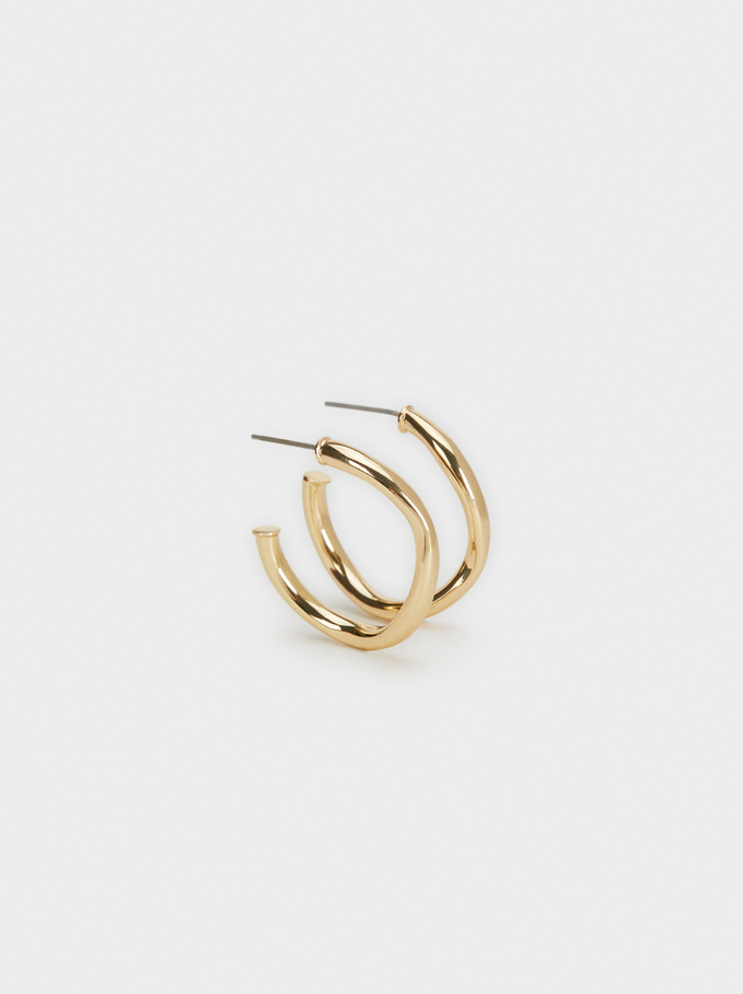 Small Golden Basics Hoop Earrings, Golden, hi-res