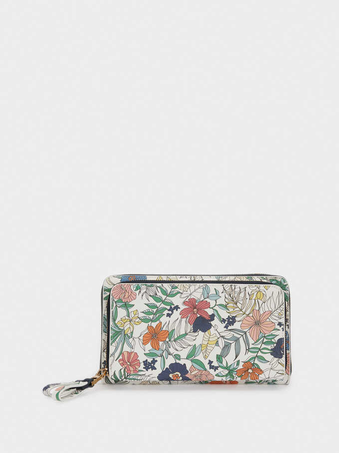 Long Floral Print Purse, Navy, hi-res