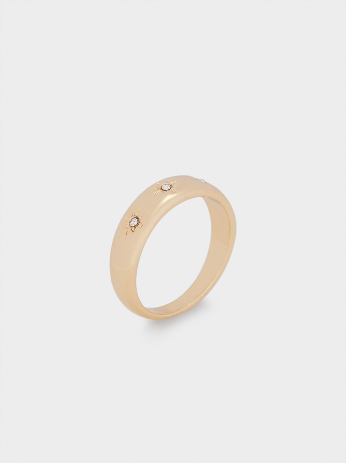 Golden Ring With Stars And Crystals, Golden, hi-res