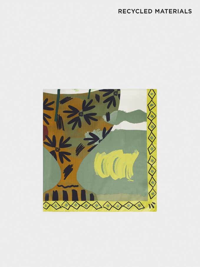 Leaf Print Square Scarf, Green, hi-res