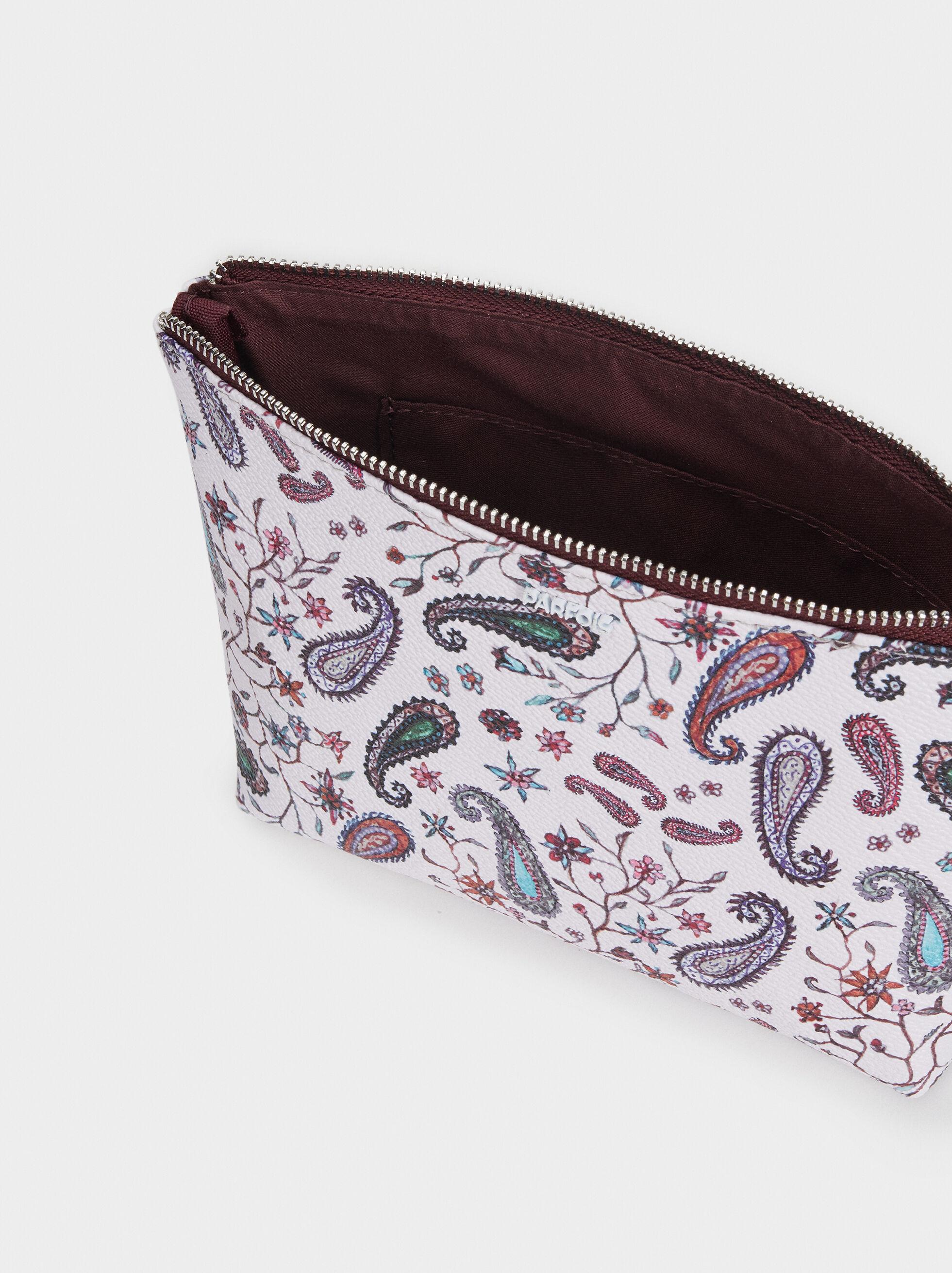 Paisley Print Toiletry Bag, Pink, hi-res