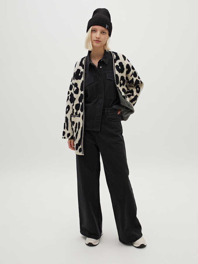 Animal Print Knit Cardigan, Black, hi-res
