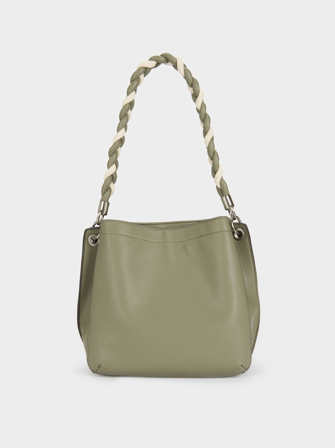 Handbag With Braided Handle, Khaki, hi-res