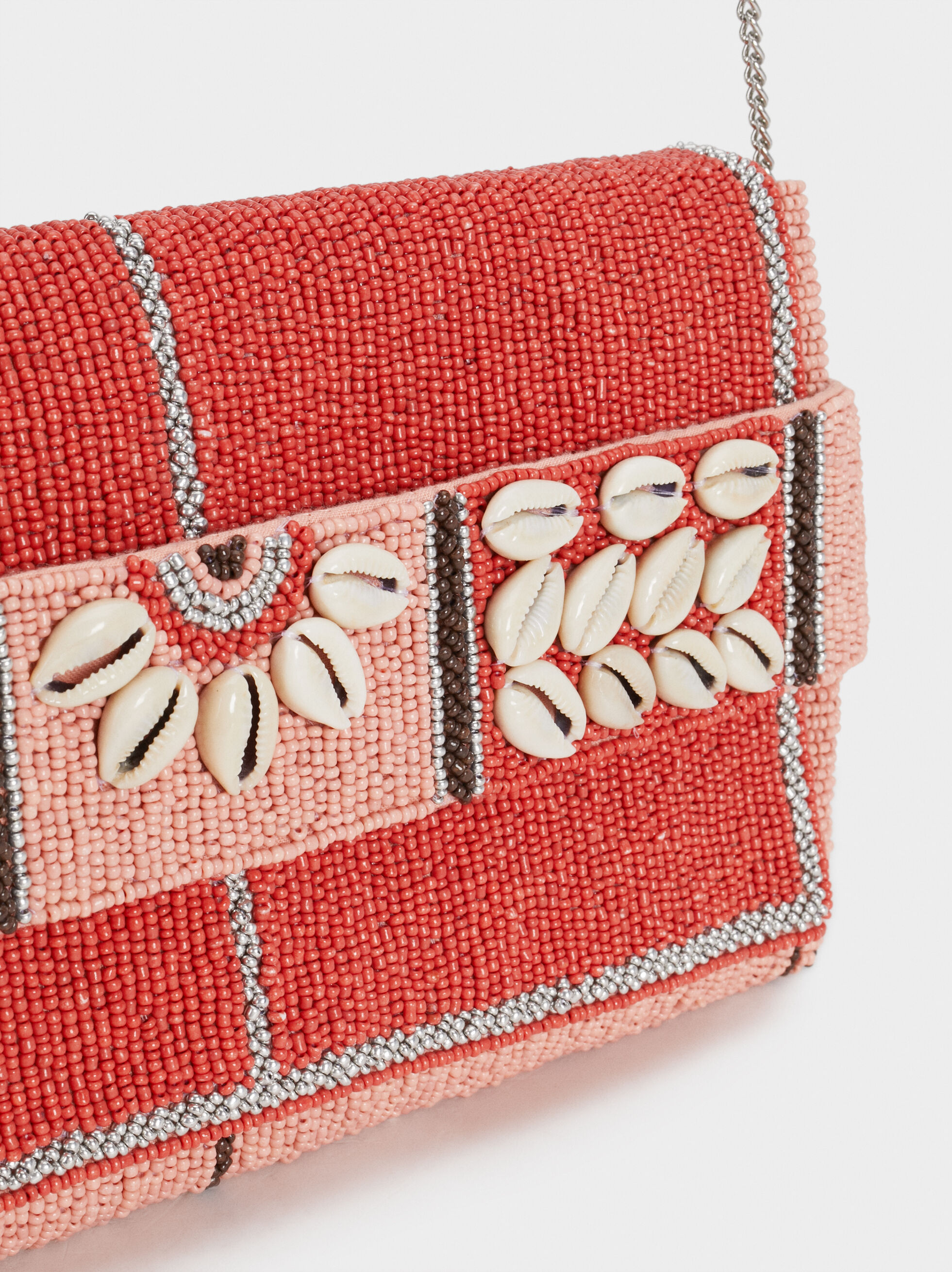 Party Clutch With Beading And Seashells, Pink, hi-res