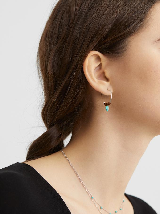 925 Silver Small Beaded Hoop Earrings, Blue, hi-res