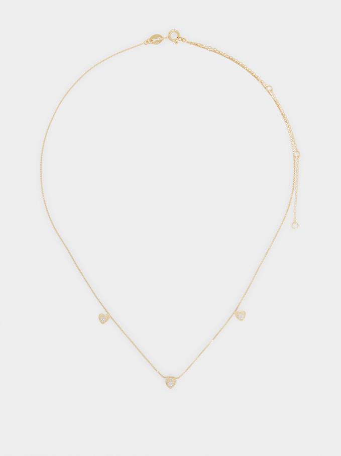 925 Silver Short Hearts Necklace, Golden, hi-res