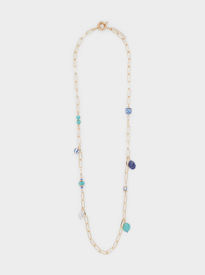 Long Chain Necklace With Stones, Blue, hi-res