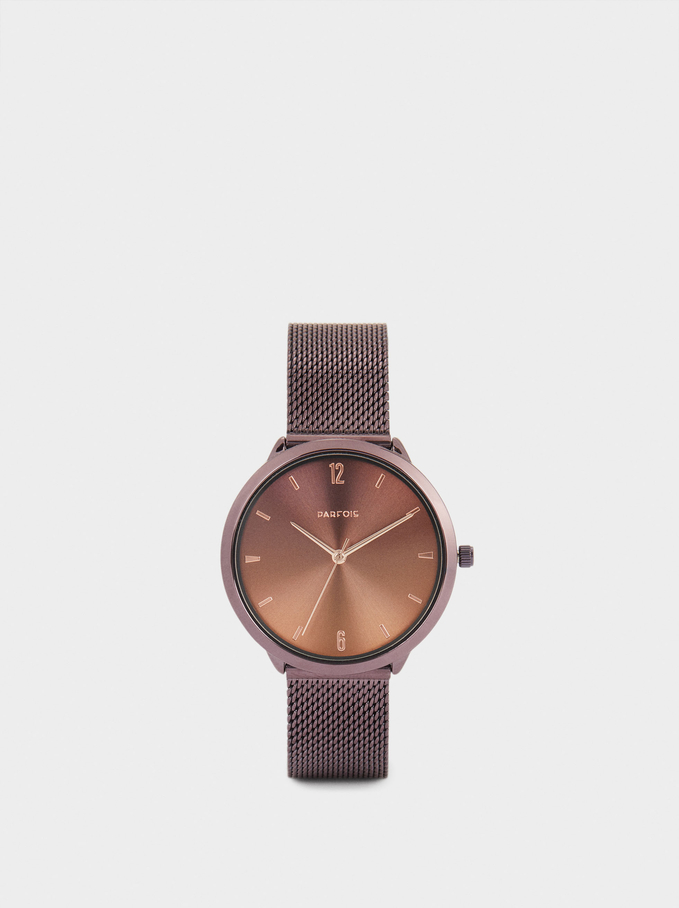 Watch With Stainless Steel Metallic Mesh Strap, Bordeaux, hi-res