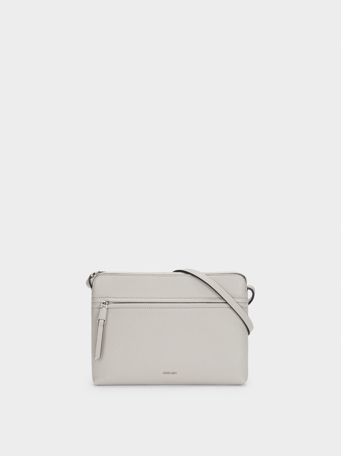 Shoulder Bag With Outer Pocket, Grey, hi-res