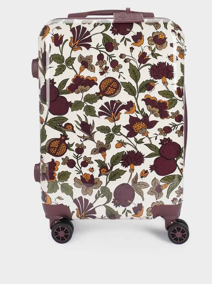 Floral Print Suitcase, Ecru, hi-res