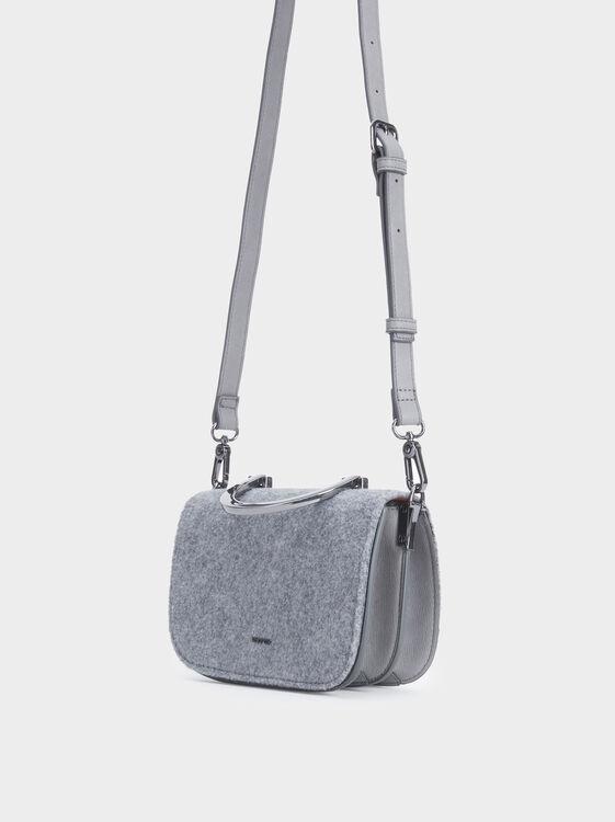 Crossbody Bag With Metallic Handle, Grey, hi-res